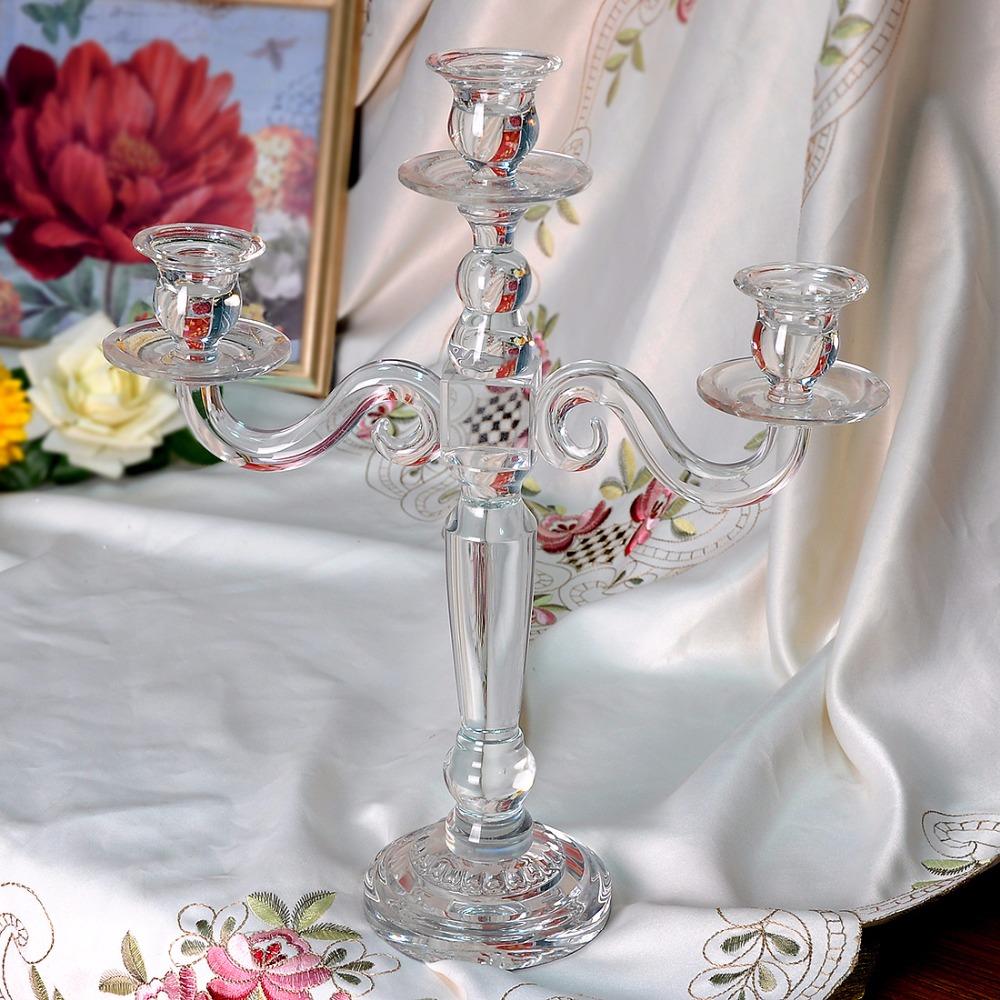 2016 New 3 Arm 15.6 Inch Clear Glass Crystal Candle Holders ...
