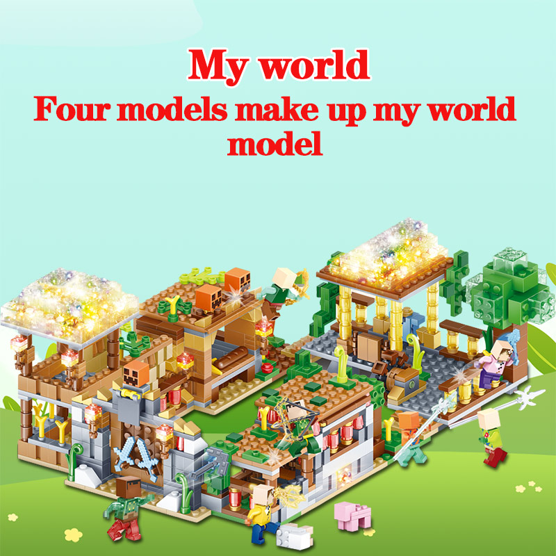 My World Blocks 3D LED Light Farm Series Compatible LegoINGLYS Minecrafted  DIY Guard Educational Fun Toys For Children 1