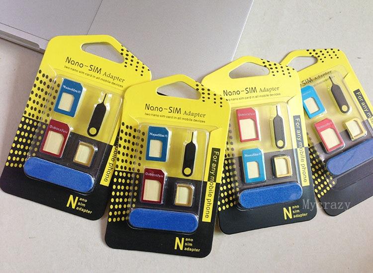 2x Metal 5 in 1 Nano Sim Card Adapter Adaptor Converter to Micro + Regular for iPhone 6s Plus 6 5s 5c 5 4s 4 Samsung LG HTC