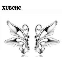 XUBCHC Free Shipping Trendy Silver White Earrings Cute Simple Butterfly Earring Fashion Weeding Jewelry for Women Best Gift