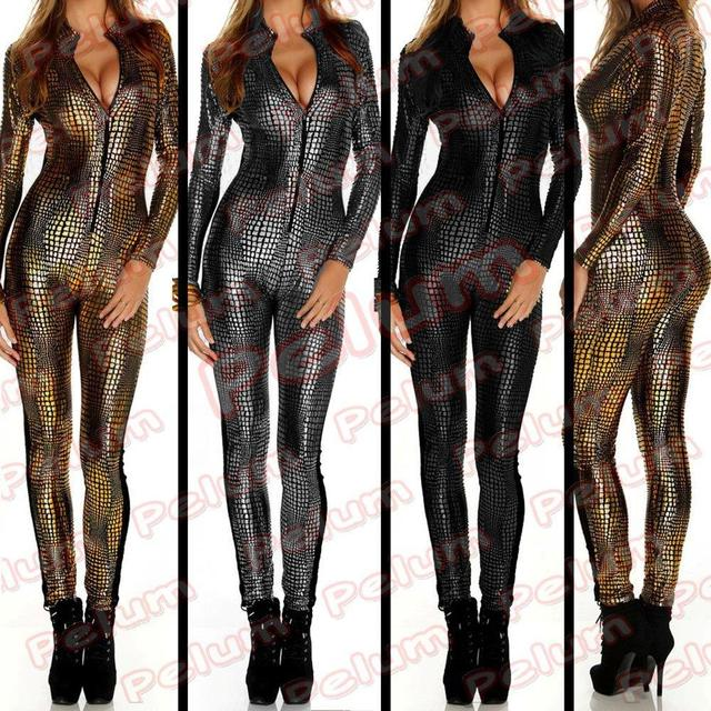 2e4bc39a9f62 New 2014 Women Celebrity Black Gold Silver Overall Wet Metal Liquid Lame  Hole Jumpsuit Bodysuit Catsuit Sexy Outfit Overalls