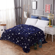 Bright Stars Bedspread Blanket 200x230cm High Density Super Soft Flannel Blankets To on For The Sofa/Bed/Car Portable Plaids(China)