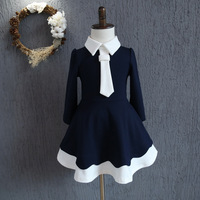 Retail 2016 New Autumn Winter School Style Kids Girl Dresses Faux Scarf Navy Costume Baby Girls