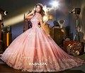 México diseñador de lujo sin mangas encaje apliques pink sweet 16 vestidos de bola con el tren gran falda vestidos de quinceañera