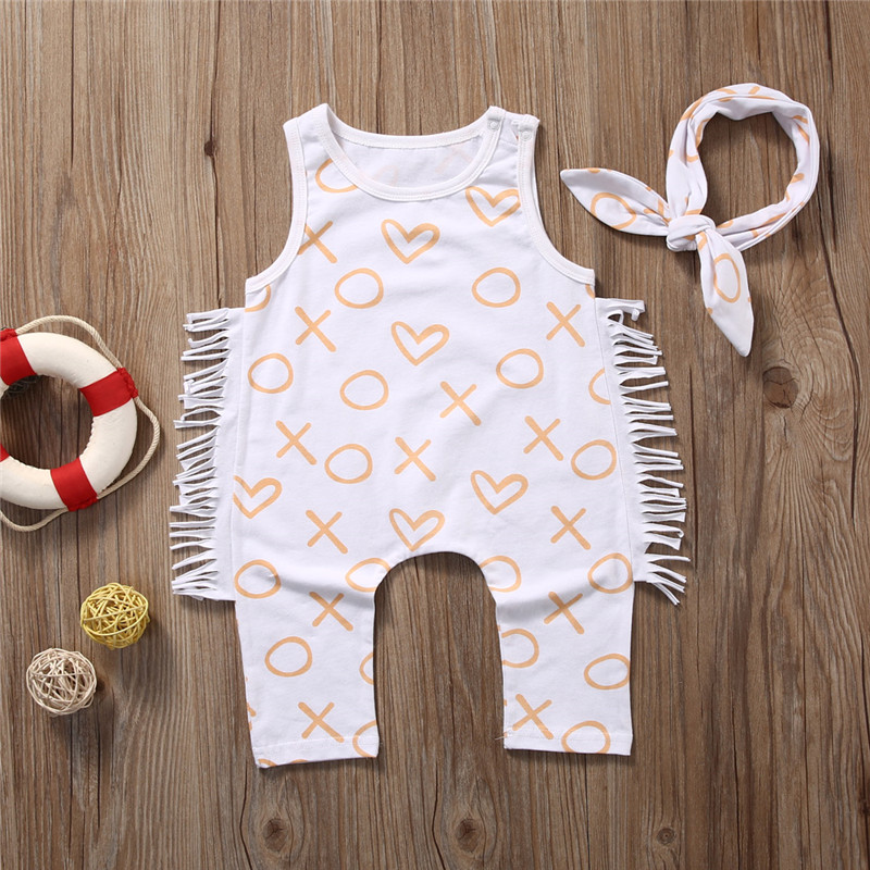 Cute Baby Girl Letter   Romper   Fashion Kids Cotton Clothes Infant White Tassles Jumpsuit Kids Bow Outfit