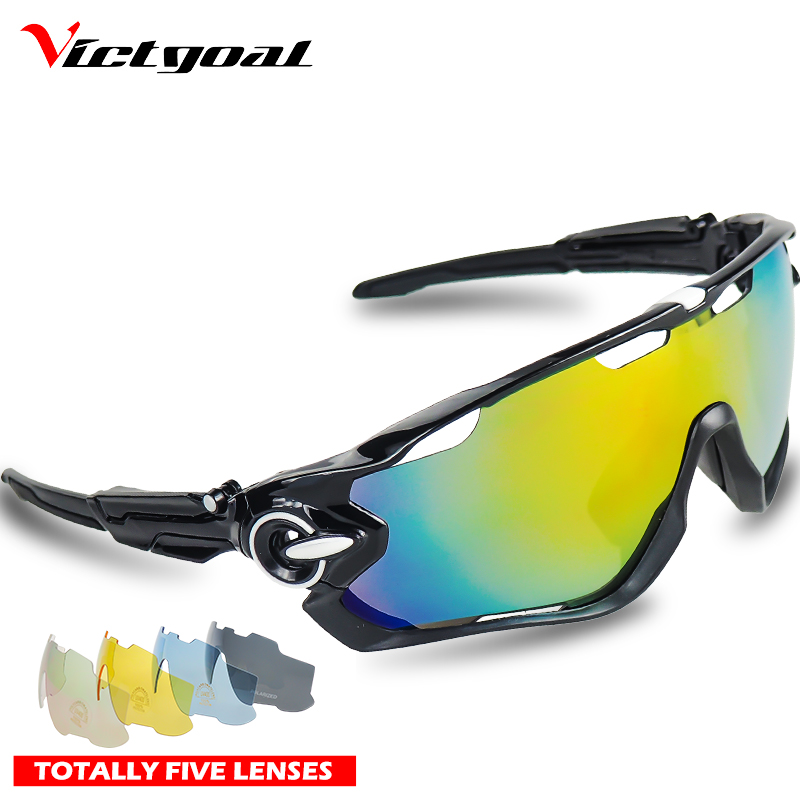 VICTGOAL Polarized Cycling Glasses 5 Lens MTB Mountain Road Bike Bicycle Running Goggles Outdoor Sports Sunglasses Bike Eyewears