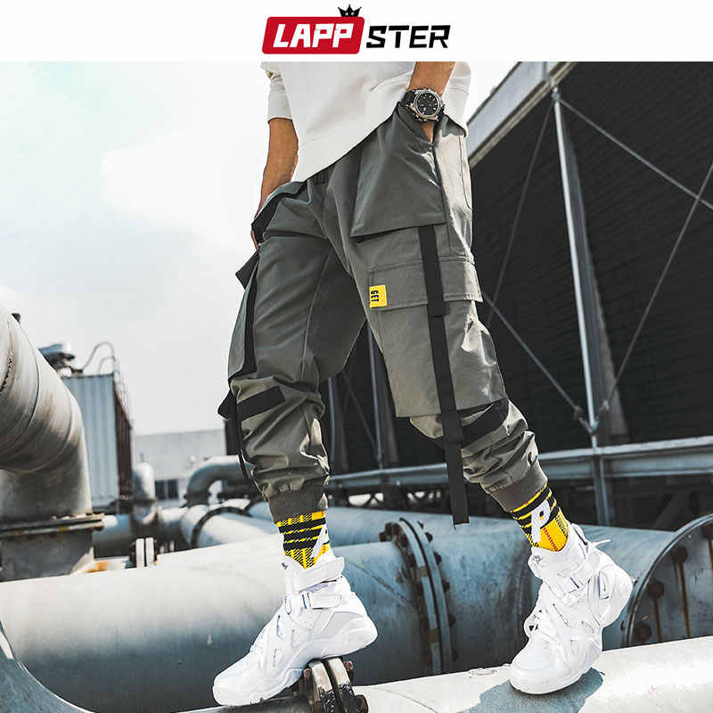 LAPPSTER Männer Bänder Streetwear Cargo Hosen 2019 Herbst Hip Hop Joggers Hosen Overalls Schwarz Fashions Baggy Taschen Hosen