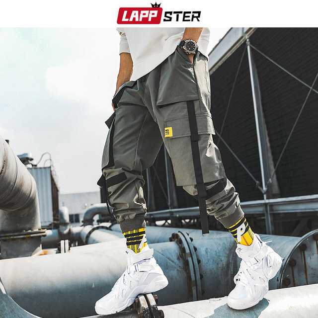 LAPPSTER Men Ribbons Streetwear Cargo Pants 2020 Autumn Hip Hop Joggers Pants Overalls Black Fashions Baggy Pockets Trousers 42