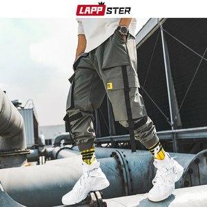 Image 4 - LAPPSTER גברים סרטי מטען Streetwear מכנסיים 2020 סתיו היפ הופ רצים מכנסיים סרבל שחור אופנת בבאגי כיסי מכנסיים