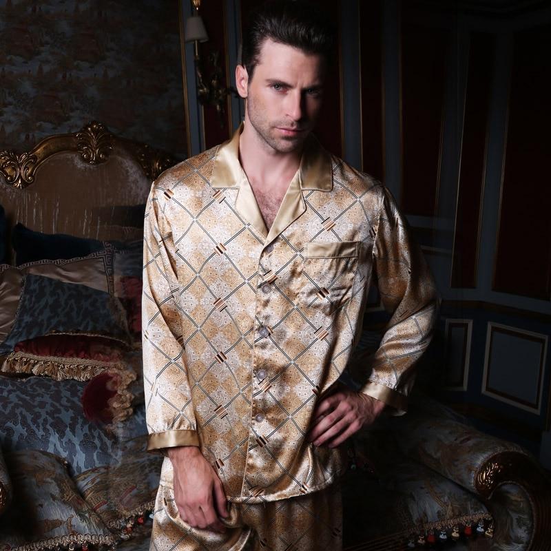 Brand Mens Silk Pajamas Set High Quality Male 100%Silk Long-Sleeve 2-Piece Pajama Pants Set Comfortable Men Fashion Homewear Set