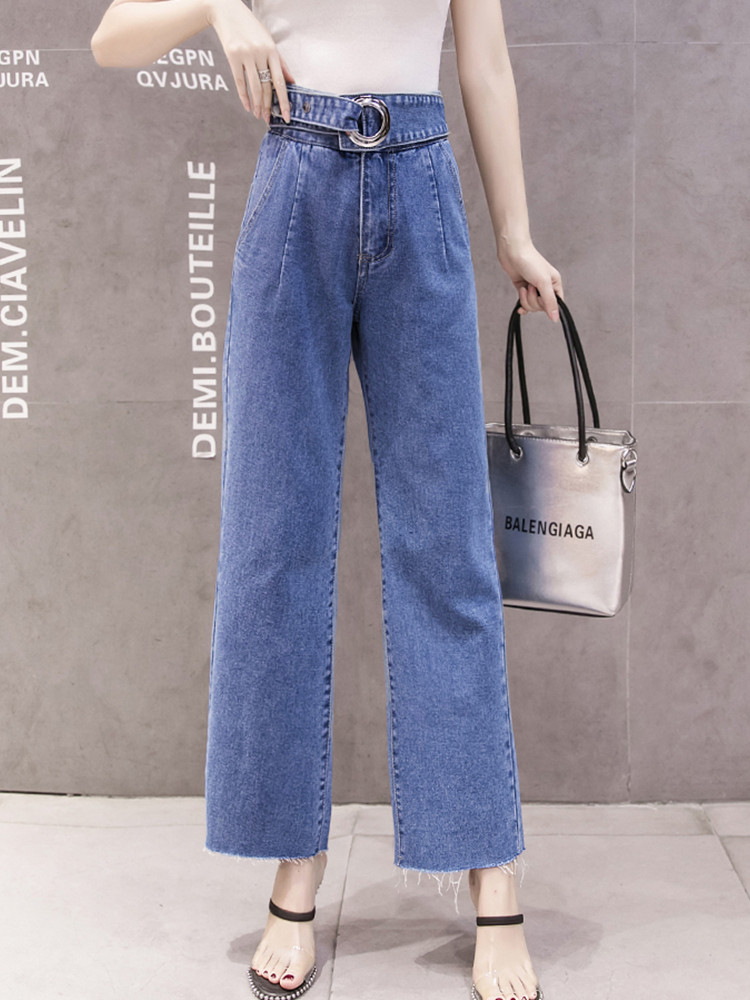 JUJULAND casual straight leg jeans plus size blue female high waist with a belt 219