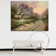 купить Cottage Thomas Kinkade Canvas Painting Print Living Room Home Decoration Modern Wall Art Oil Painting Posters Pictures Framework дешево