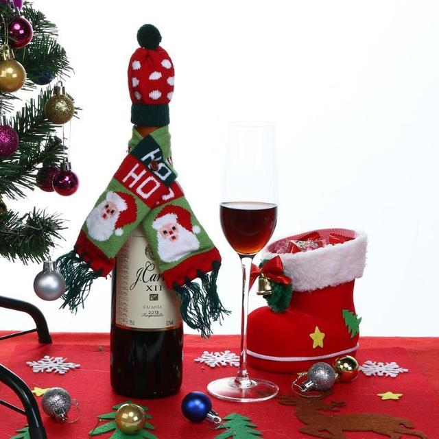 Wine Bottle Christmas Tree Diy.Us 1 16 29 Off Aliexpress Com Buy 2pcs Christmas Tree Santa Elk Wine Bottle Cover Hat Scarf Festive Party Supplies Ornament Table Decor Diy