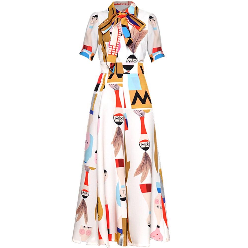 레드 roosarosee 여름 여성 패션 활주로 정장 짧은 소매 만화 인쇄 셔츠 + 긴 바지 + 활 우아한 빈티지 2 조각 세트-에서여성 세트부터 여성 의류 의  그룹 1