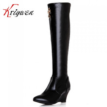 2016 Fashion New Knee High Boots Vintage Med Heel Wedges shoes Winter Autumn Shoes Pointed toe women's Snow solid fashion Boots
