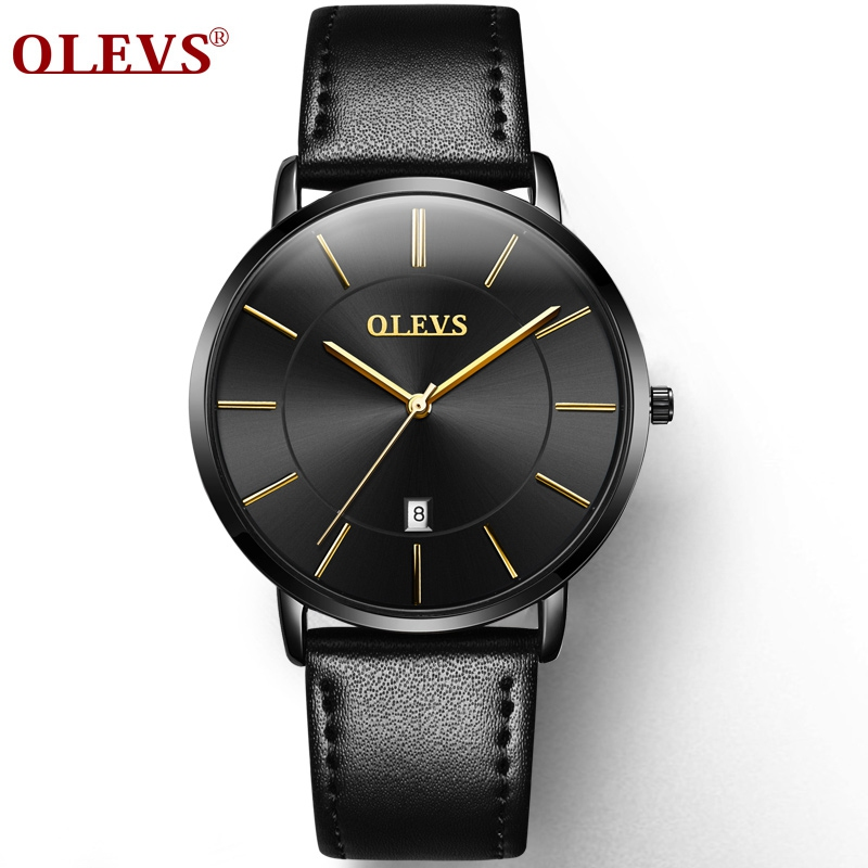 Genuine OLEVS Brand Fashion Casual Quartz Watch Men Waterproof Leather Sports Watches Ultra thin Man Clock Relogio Masculino genuine leather quartz men s fashion watches casual ultra thin man wrist watch ibso brand rhinestone waterproof male dress clock page 8