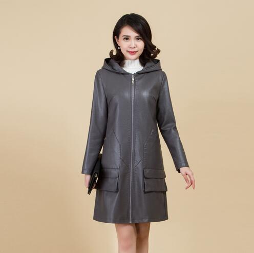 Capuche 2018 Tranchée Manteaux Longue gris Noir Taille 5xl De Haute Printemps Plus En Automne Femmes L Cuir Qualité À Manteau Vestes La Uqfz4