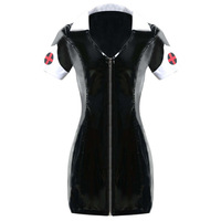 Black PVC Exotic Dress Latex Sexy Catsuit Costume PU Leather Catwoman Clubwear Clothes Halloween Zipper Nurse Dress Costume