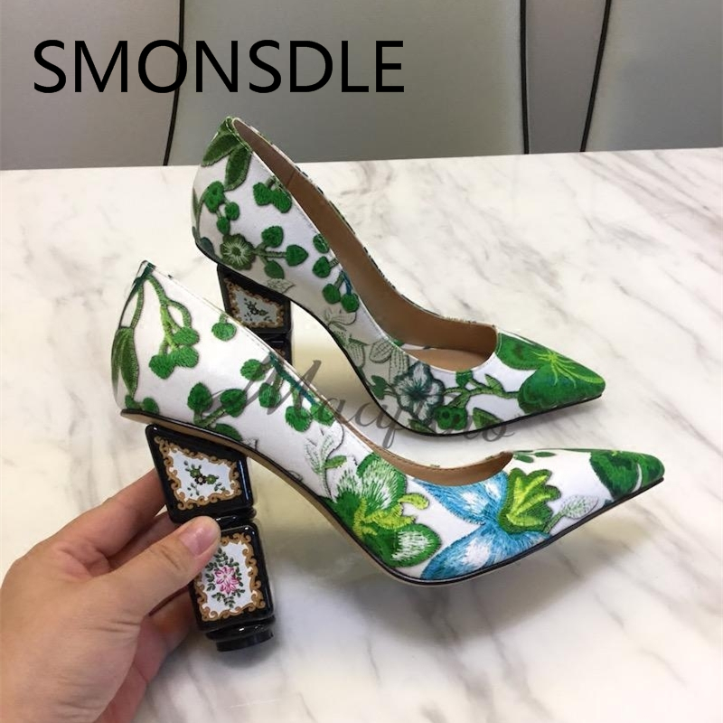 2018 Spring Summer Green Embroidered Strange Heel Shoes Women Pointed Toe Slip On Flower Pumps Lady Fashion Party Wedding Shoes phyanic 2018 spring summer slip on women pumps fashion elegant pointed toe thick high heels party lady woman shoes black beige