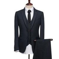 100% шерсть зимние Однобортный теплые Для мужчин Slim Fit костюмы Королевский синий плед смокинг Свадебные Жених брендовая одежда 3 шт. комплект