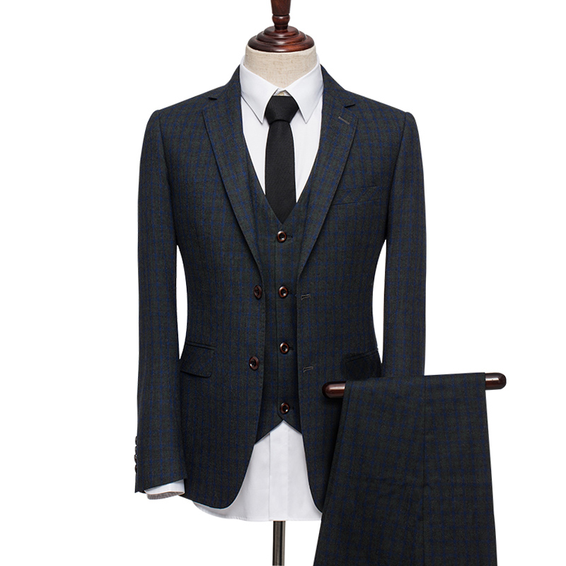 100% Wool Winter Single Breasted Warm Men Slim Fit Suits Royal Blue Plaid Tuxedo Wedding Groom Brand Clothing 3pcs Set 3XL Plus