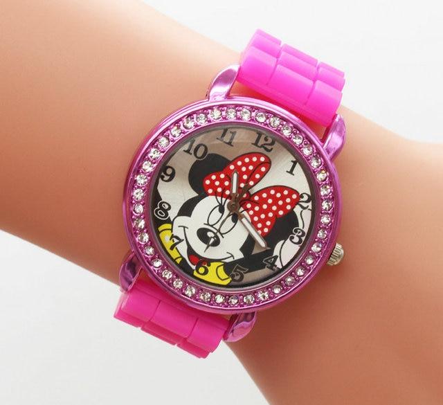 free Fashion MICKEY Minnie cartoon crystal diamond watches silicone female watch students Christmas gifts1pcs