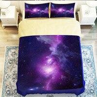 2017 New Home Star 3D Bedding Sets Nebula Duvet Cover Set Starry Sky 4pcs Bedclothes Voilet