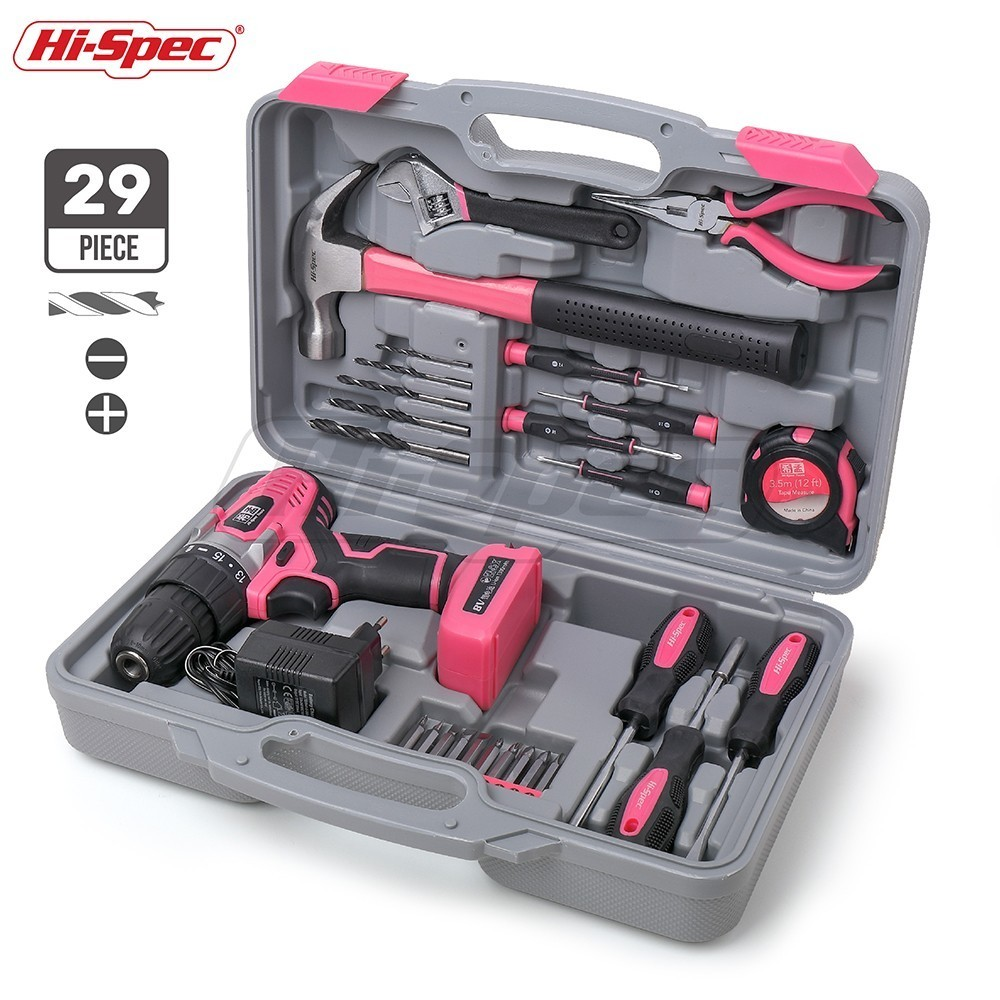 Hi-Spec 29 Pieces Pink Household Hand Tool Set Kit 8V Electric Screwdriver Li-ion Battery Power Tool Set Girl Women Lady Tools bl1013 electric tool battery 10 8v max 12v 2000mah for makita bl1014 electric power tool battery li ion power tool battery