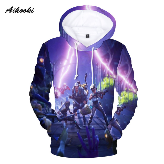 Aikooki Full 3D Print Game Fortnite Hoodies Men Cap Sweatshirt Polluver Harajuku Fortnite Battle Royale 3D Printed Men Clothing 2