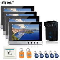 Free Shipping New10 InchColor Video Door Phone Intercom System 4 Monitors 1camera Support RFID Card Access