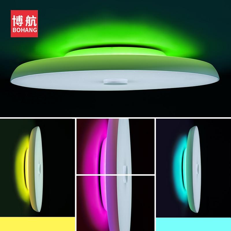 Moderno led luzes de teto pode ser escurecido 36 w 48 72 app controle remoto bluetooth música luz alto falante foyer quarto lâmpada do teto inteligente - 3