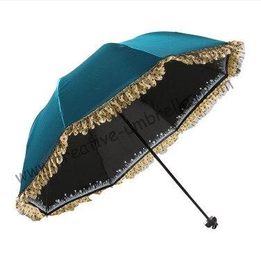 2 pcs/lot option couleur femme bleu royal UPF> 50 + mini parapluie pliant 5 fois noir revêtement Anti-UV poche dentelle parasol