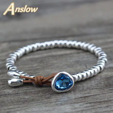 Anslow Fashion Jewelry Cheap Cute Romantic Crystal Heart Korean Couple Handmade Strand Beads Bracelet Friendship Gift LOW0732LB(China)