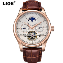 цена на 2018 NEW Men Watches Automatic Mechanical Watch Man Sport Clock Leather Casual Men Wristwatch Gold Relojes Hombre Hodinky Gift