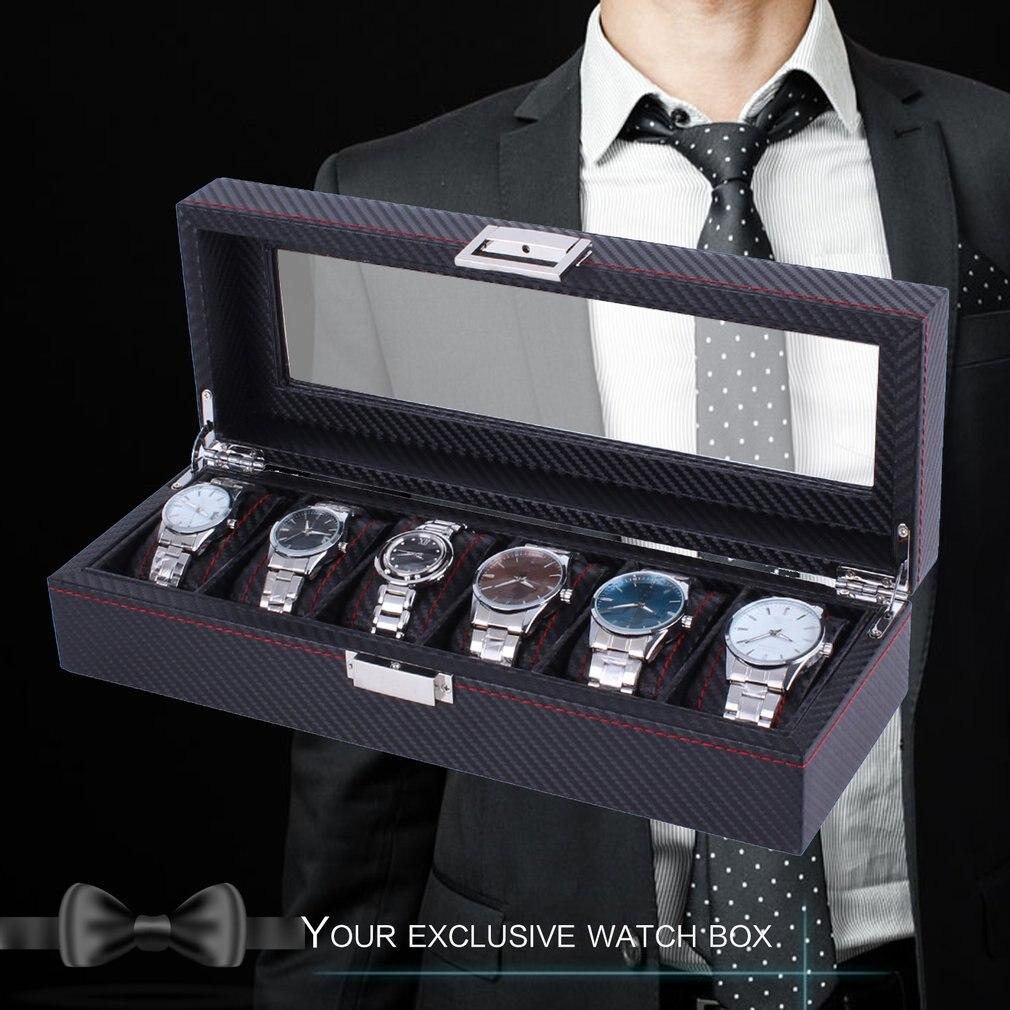 outad роскошные углеродного волокно 6 слотов часы коробка ювелирные часы дисплей коробки хранения организатор прочный кожаный чехол идеальный подарок