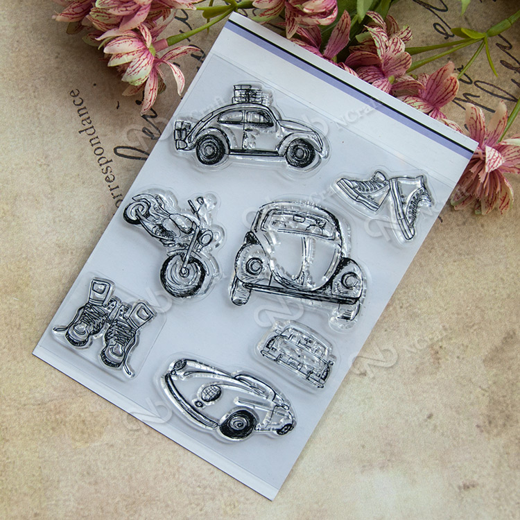Retro car transparent Seal Scrapbook DIY Album card Hand-book decoration Rubber Stamp scrapbook diy photo album card hand account rubber seal product seal transparent seal stamp cat