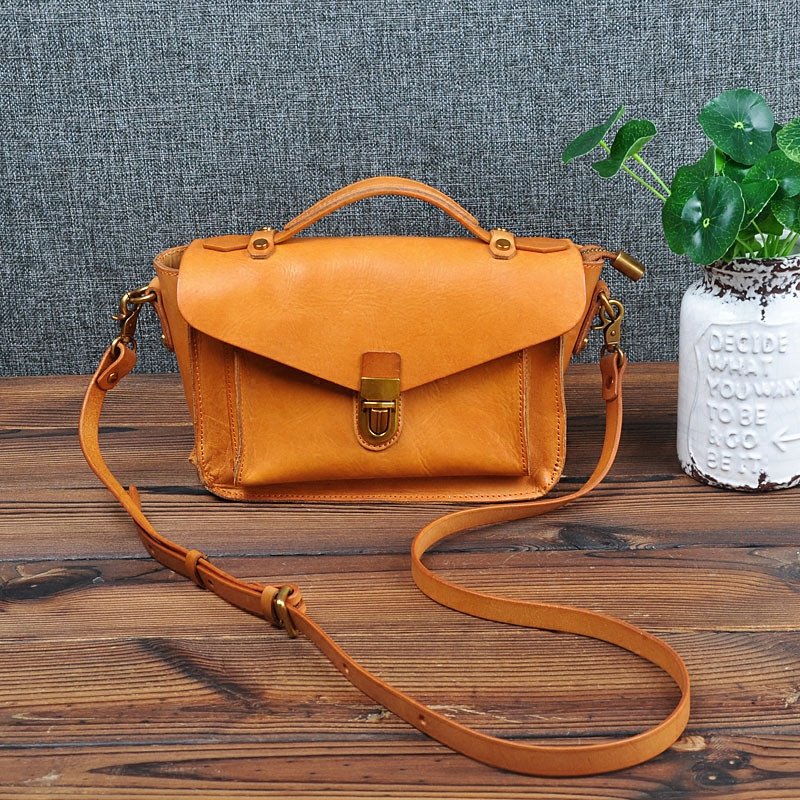 Original Women handbag retro genuine leather vegetable tanned female Messenger bag Korean version small shoulder Cambridge bag
