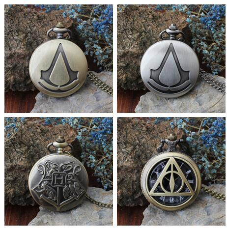 New Arrival Bronze Pocket Watch with Chain Harry Potter Pocket Watch Student Vintage Watch Wholesale 20pcs KKN86
