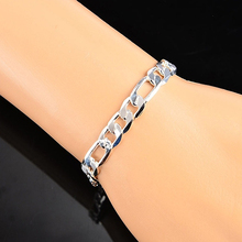 Men's Women's Flat Link Chain Lobster Clasp Silver Plated Bracelet Jewelry