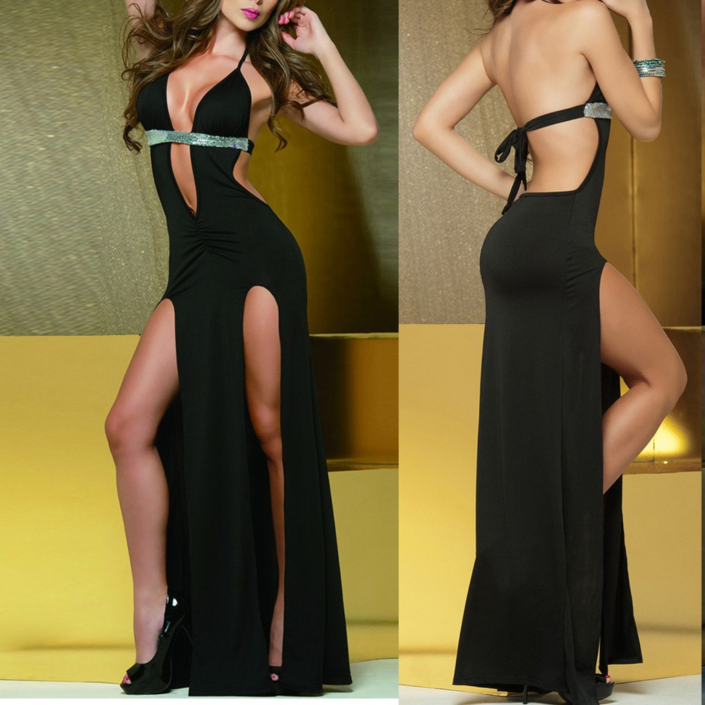 Women Underwear Fashion Clubwear Deep V-Neck Backless Sequined Split <font><b>Dress</b></font> <font><b>Sexy</b></font> Lingerie bielizna erotyczna ropa <font><b>sexy</b></font> mujer erotica image