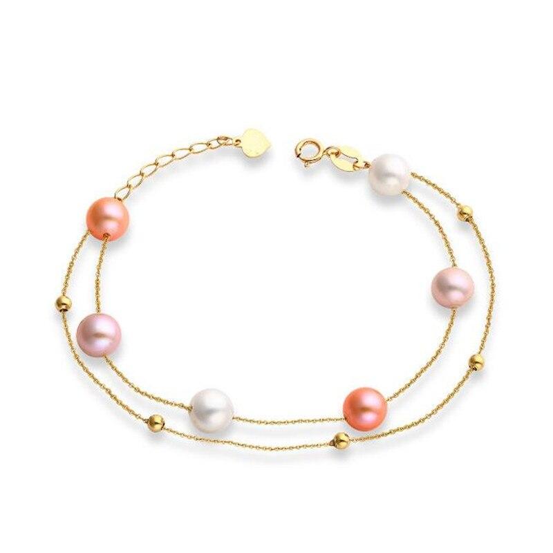18 K or Rose 6-6.5mm perle d'eau douce naturelle bracelet à breloques bijoux fins en gros blanc Rose violet perle bracelet pour les femmes