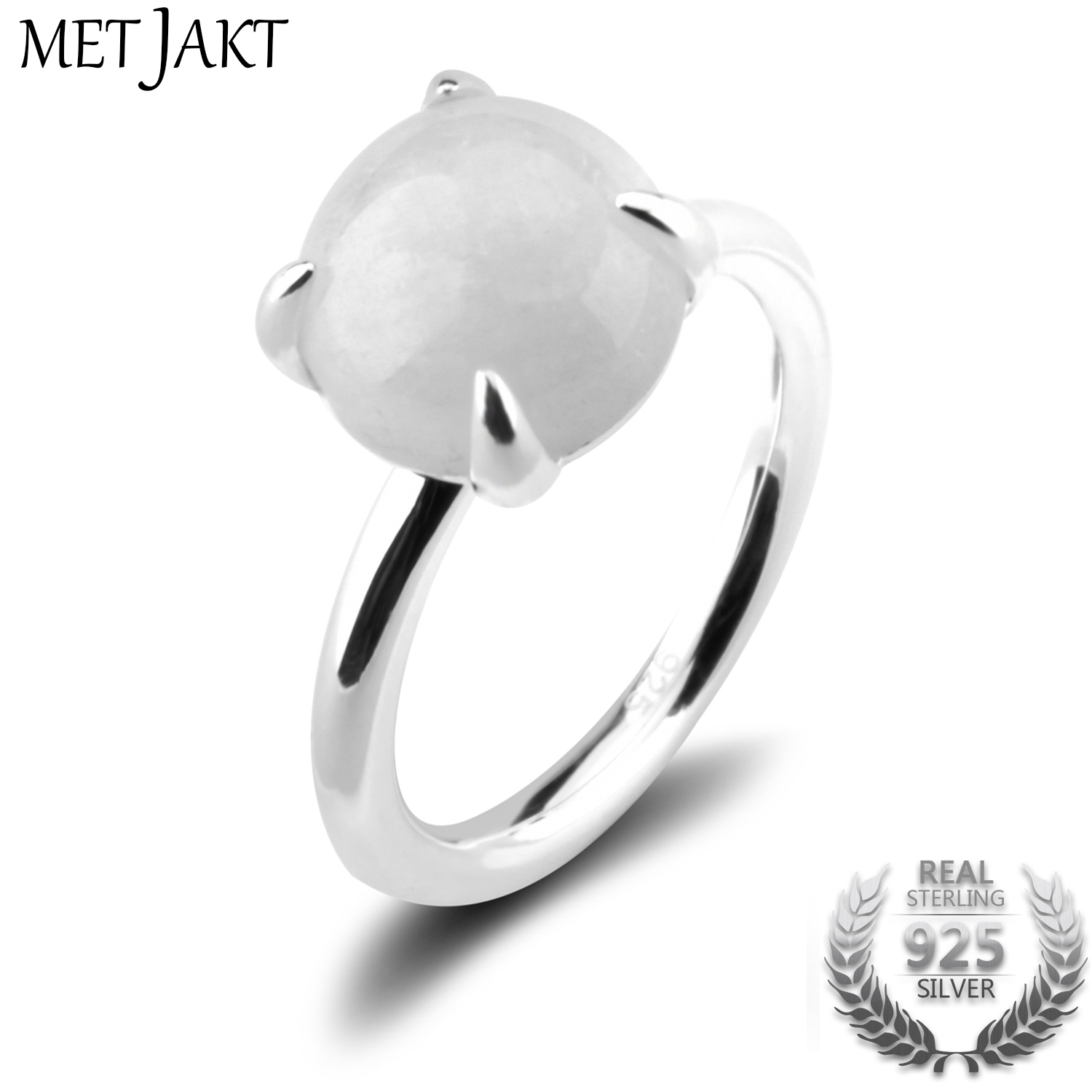 MetJakt Natural Moonstone Rings Solid 925 Sterling Silver Ring for Ladies Occasions Vintage Luxury Jewelry