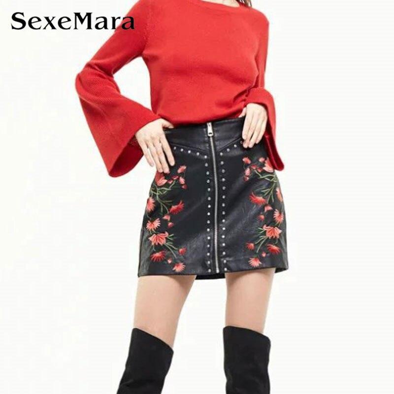 1f70960dd2 2017 Nuevos Remaches de La Vendimia Bordado de Cuero de LA PU Falda de Una  Línea de Falda de Cintura Alta Moda de Las Mujeres Ocasionales de Cuero Zip  Mini ...