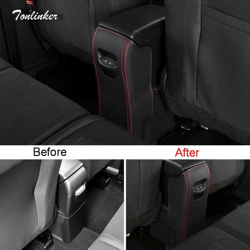 Tonlinker Cover Case Stickers for Ford Ecosport 2018 Car Styling 1 PCS PU Leather The Rear armrest Anti dirty Pad cover stickers in Car Anti dirty Pad from Automobiles Motorcycles