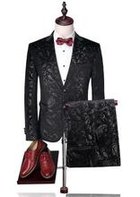 Men Wedding Suits Mens Print Paisley Floral Stage Wear For Singer Fashion Slim Fit Blazer With Pants (Blazer+Pants)