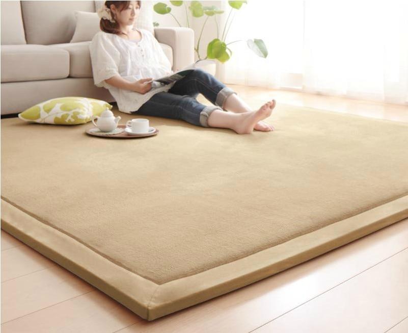 2cm thick Japanese tatami rug coral fleece velvet bedroom carpet children play mat livingroom rug large size kids room tapis