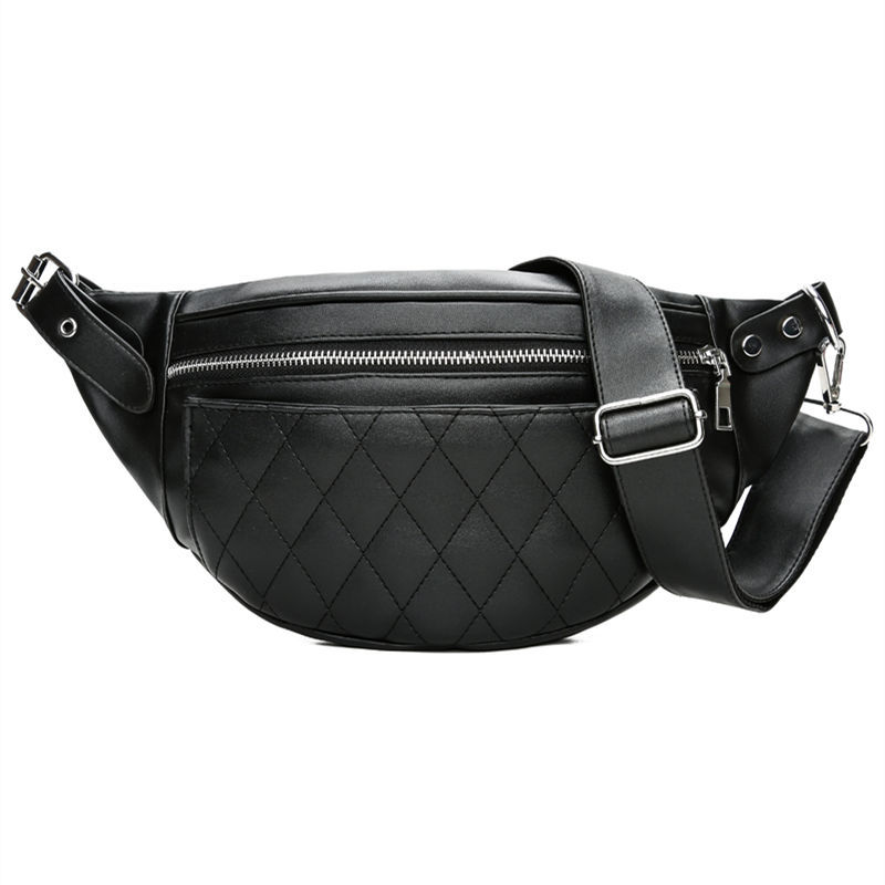 Fashion Ling Grid PU Leather Fanny Pack Waist Bag Bananka Waterproof Antitheft Women Walking Shopping Belly Band Belt Bag