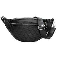Купить с кэшбэком Fashion Ling Grid PU  Leather Fanny Pack Waist Bag Bananka Waterproof Antitheft Women Walking Shopping Belly Band Belt Bag