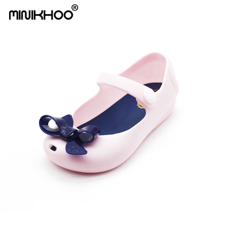 Mini Melissa Brazil Girl Jelly Bow Sandals 2018 New Children Sandals Shoes Water Shoes Beach Sandals Breathable Kids Sandals