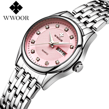 WWOOR 2017 New Brand Fashion Women Watches Quartz Watch Dress Ladies Casual Sports Wristwatch Stainless Steel Strap Red Dial